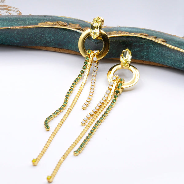 Gold long dangle earrings with gold loop and Swarovski crystals