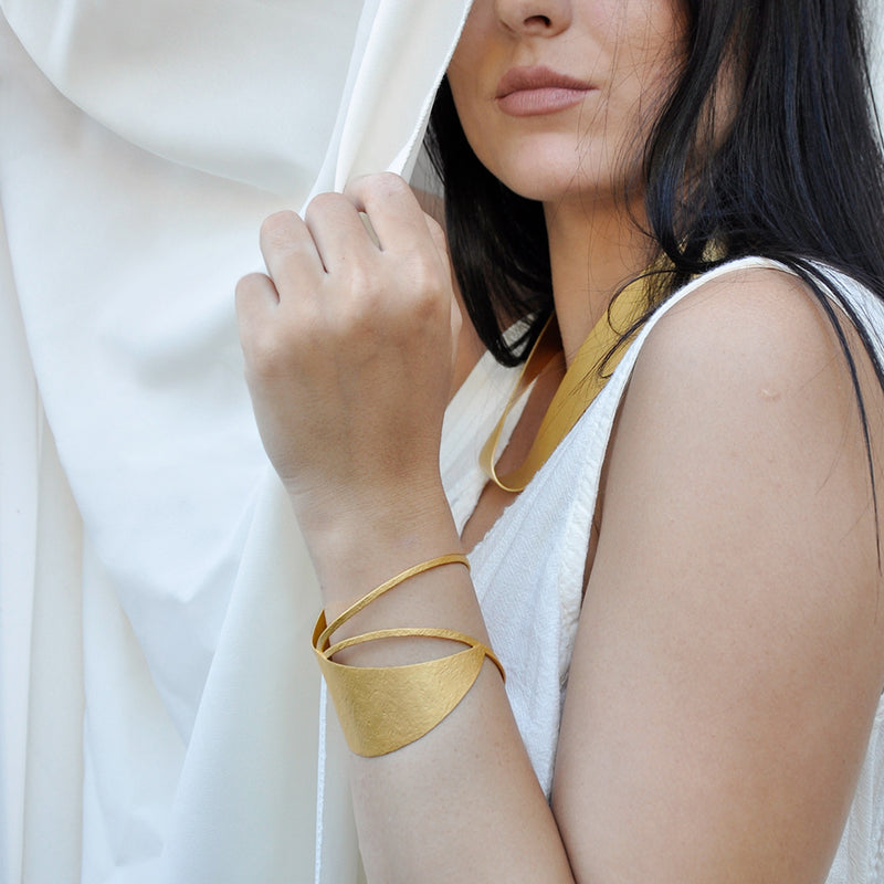 gold asymmetrical adjustable cuff bracelet