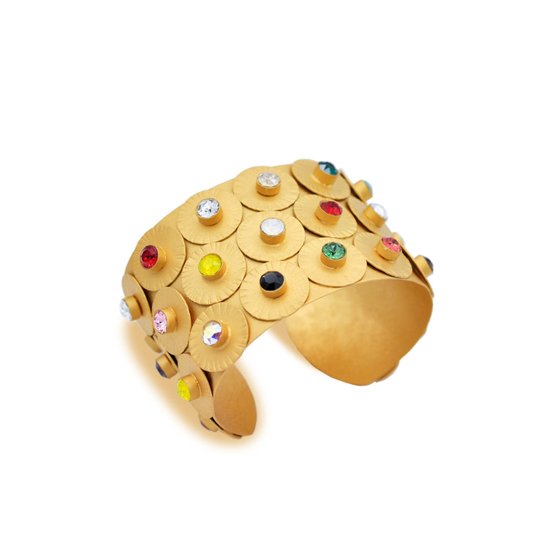 Gold plated wide cuff bracelet with multicolor high quality crystals