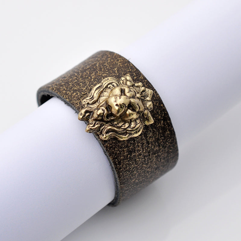 Brown leather lion cuff bracelet
