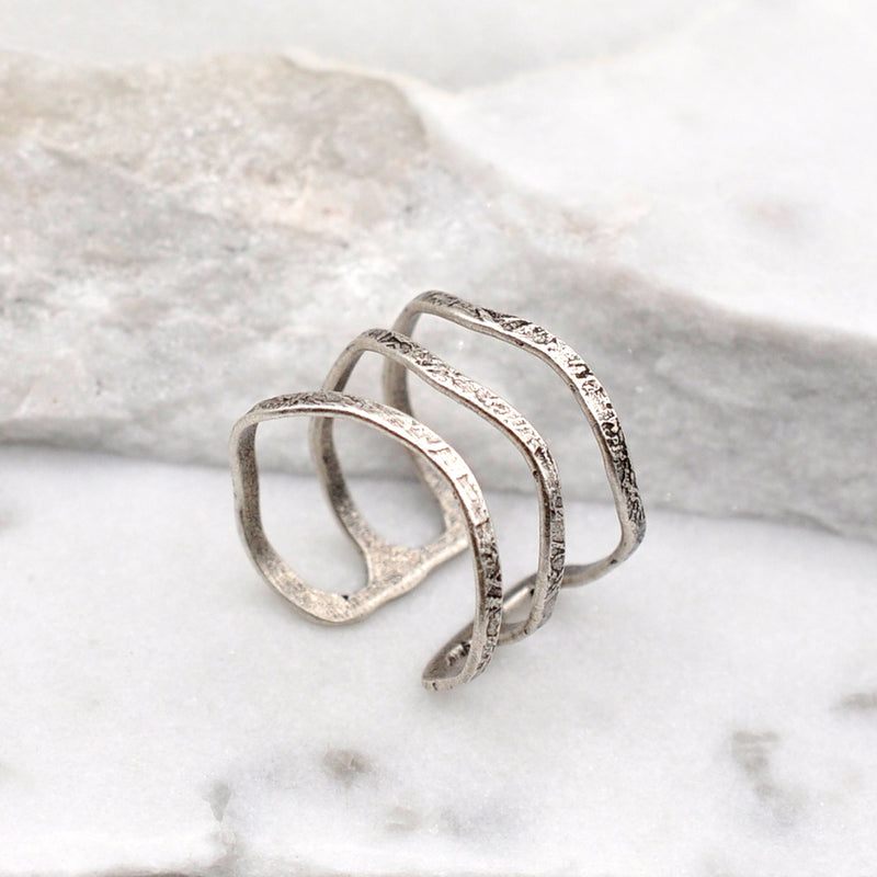 Silver plated multiple thin band ring