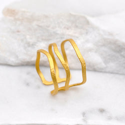 Gold plated multiple thin band ring