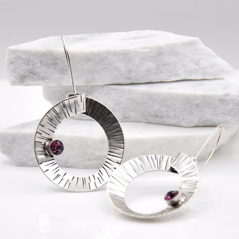 Spiral shape  Silver Dangle Earrings with Swarovski