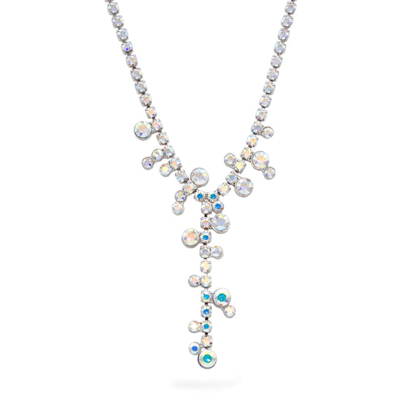 Y shaped silver necklace with Swarovski crystals