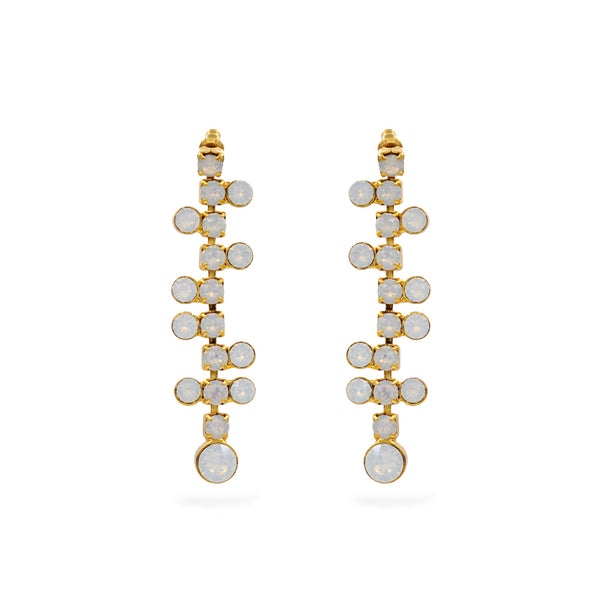 Chandelier earrings gold plated with white Swarovski crystal