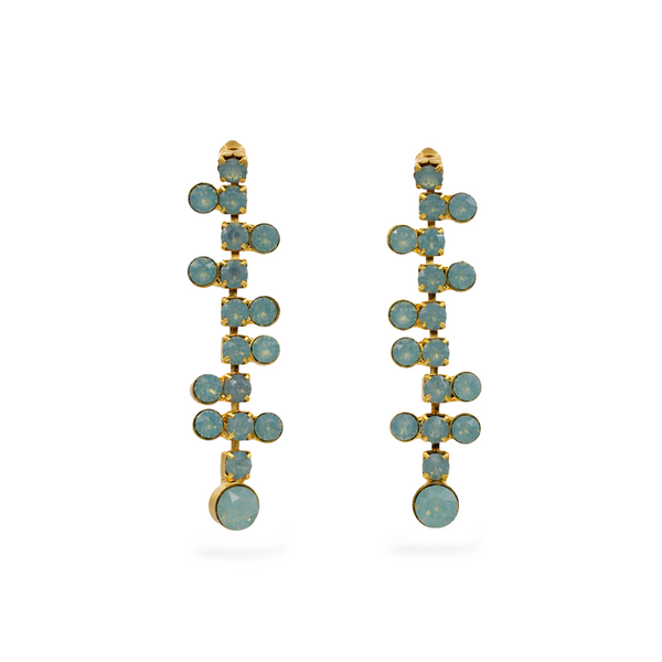 gold plated chandelier earrings with blue Swarovski crystals