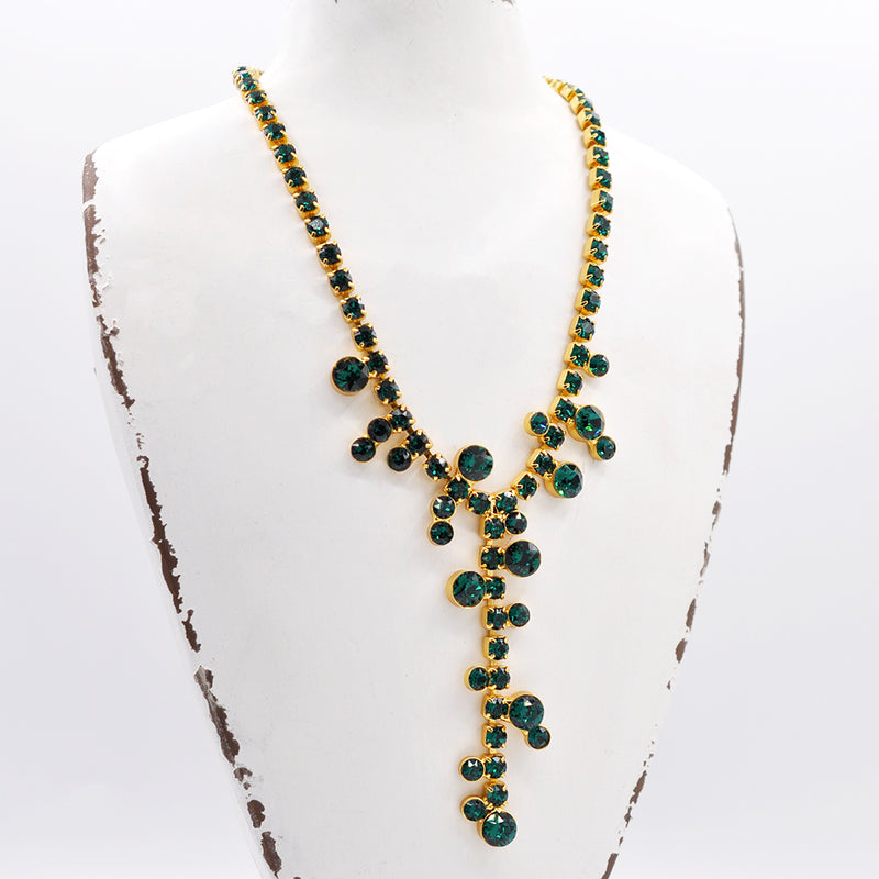 Gold Y shape costume necklace with emerald Swarovski crystals
