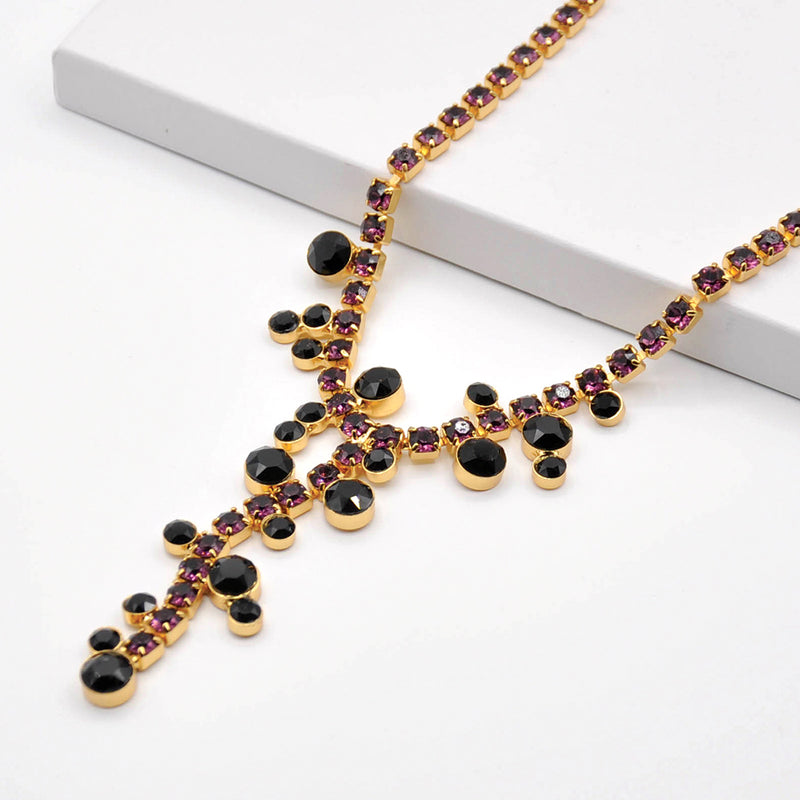 Gold Y shape costume necklace with amethyst and onyx Swarovski crystals