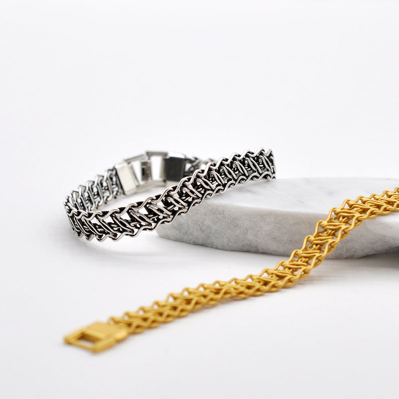 gold silver thin chain bracelet