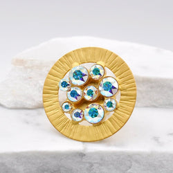 Gold plated round shape statement ring with aurora Swarovski crystals