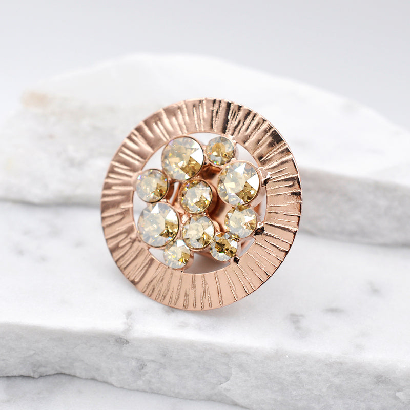 Rose gold plated round shape statement ring with Swarovski crystals