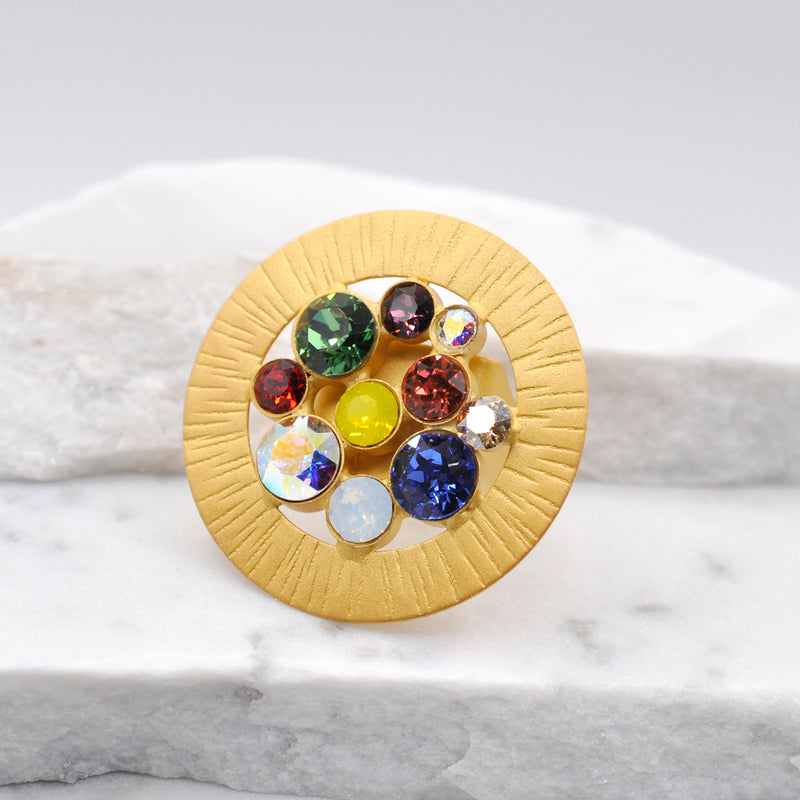 24k gold plated round shape statement ring with multiple color Swarovski crystals