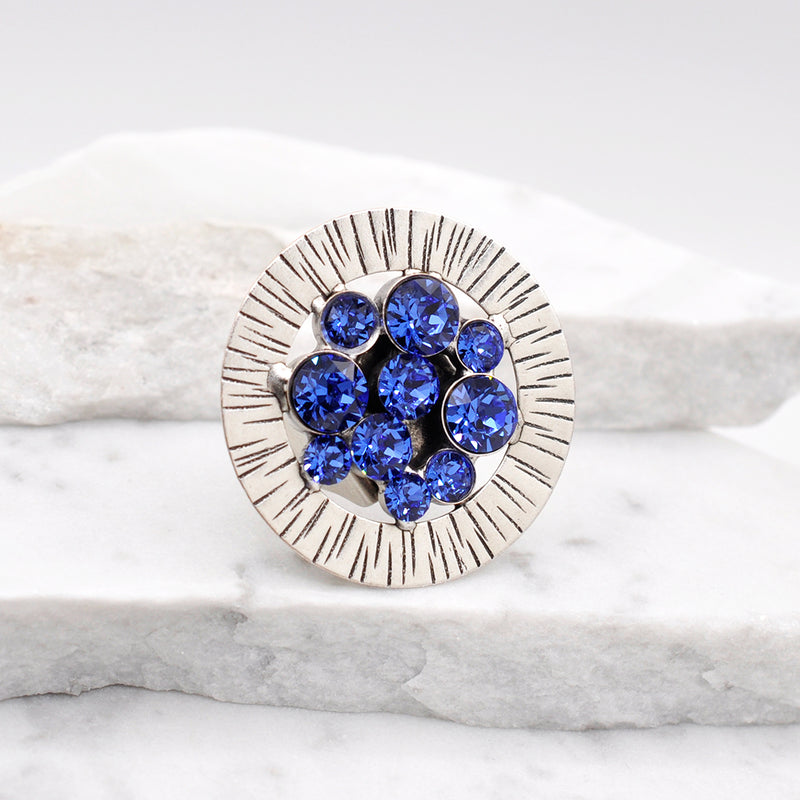 silver round statement ring with sapphire Swarovski crystals