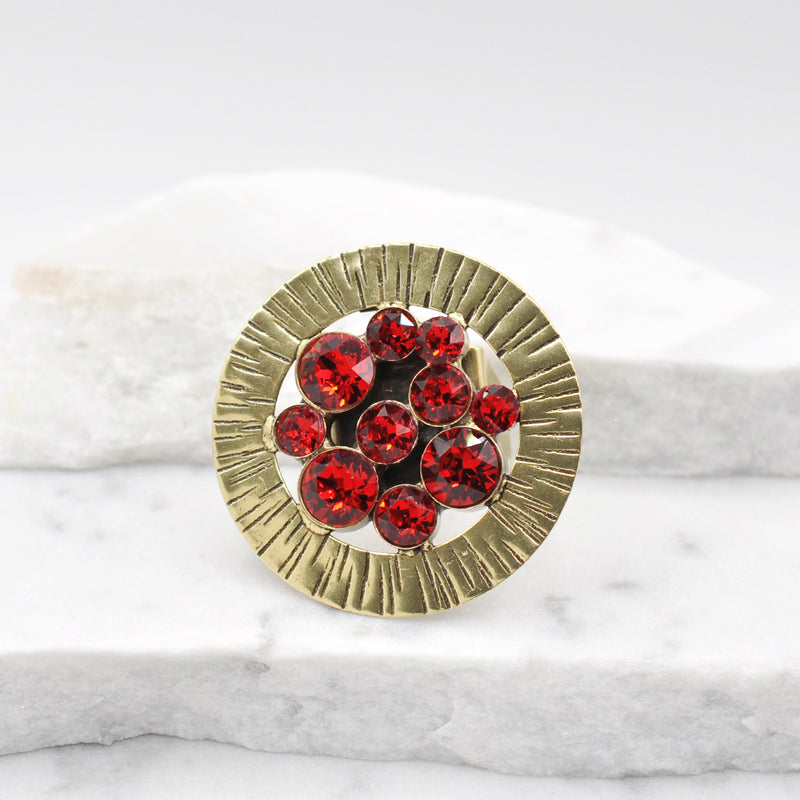 Bronze round statement ring with red Swarovski crystals