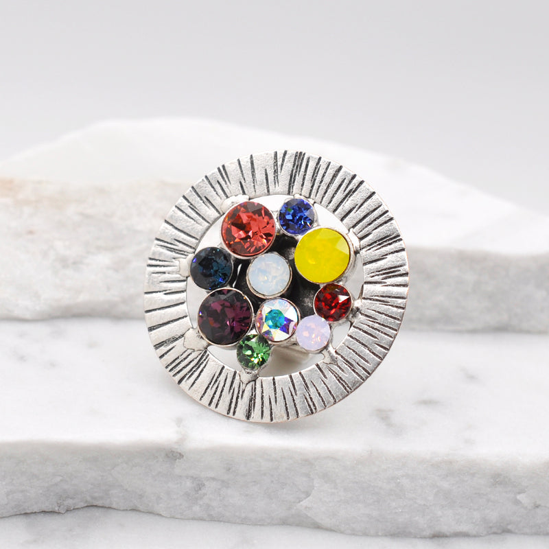 Silver round statement ring with multiple color Swarovski crystals