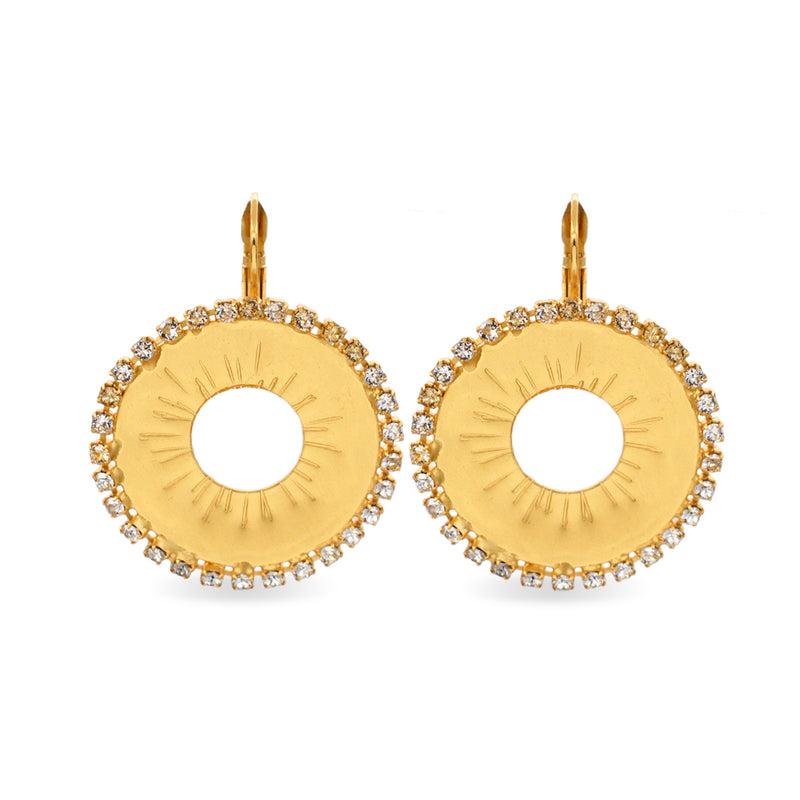 Circular gold earrings with white Swarovski crystals