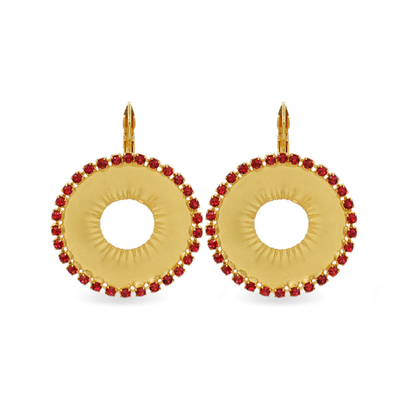 Circular gold earrings with red  Swarovski crystals
