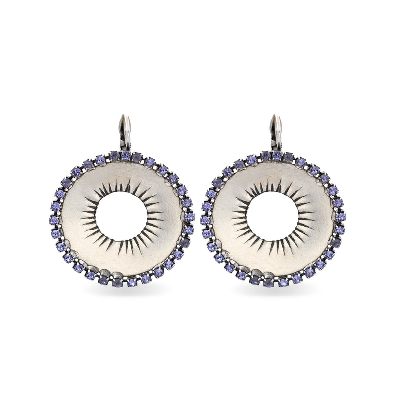 Circular silver earrings with purple Swarovski crystals