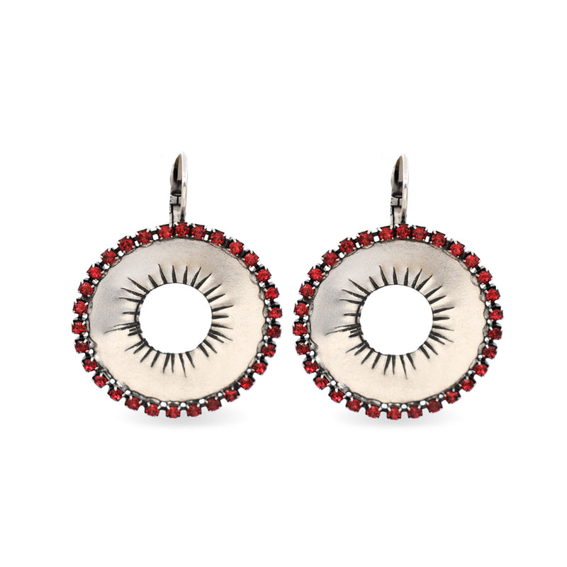 Circular silver earrings with red Swarovski crystals