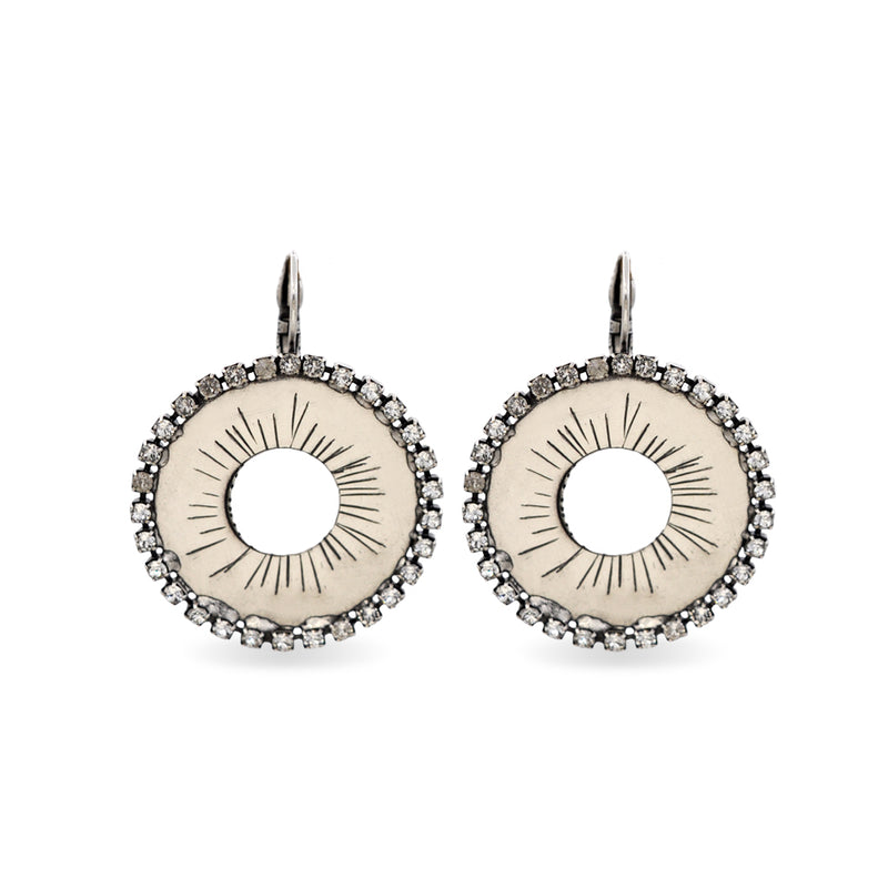 Circular silver earrings with white Swarovski crystals