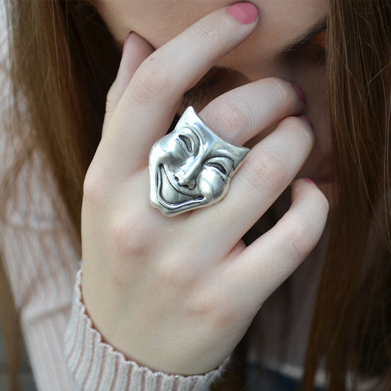 Comedy mask statement ring