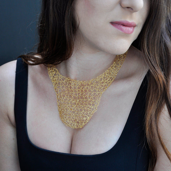 Crochet collar style gold necklace