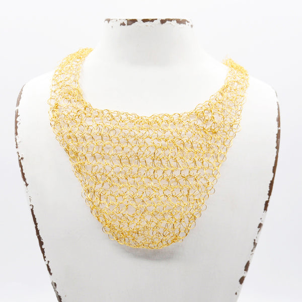 crochet gold wire necklace