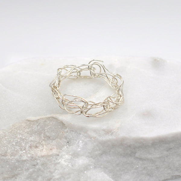 Silver hand knitted wire ring
