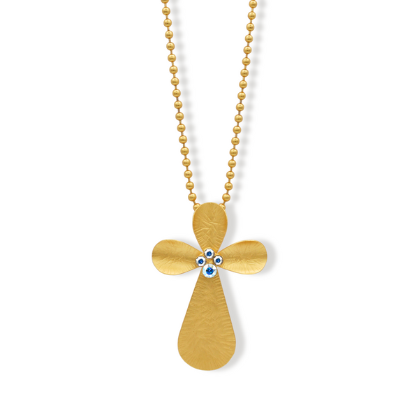 large gold cross necklace with aurora crystals