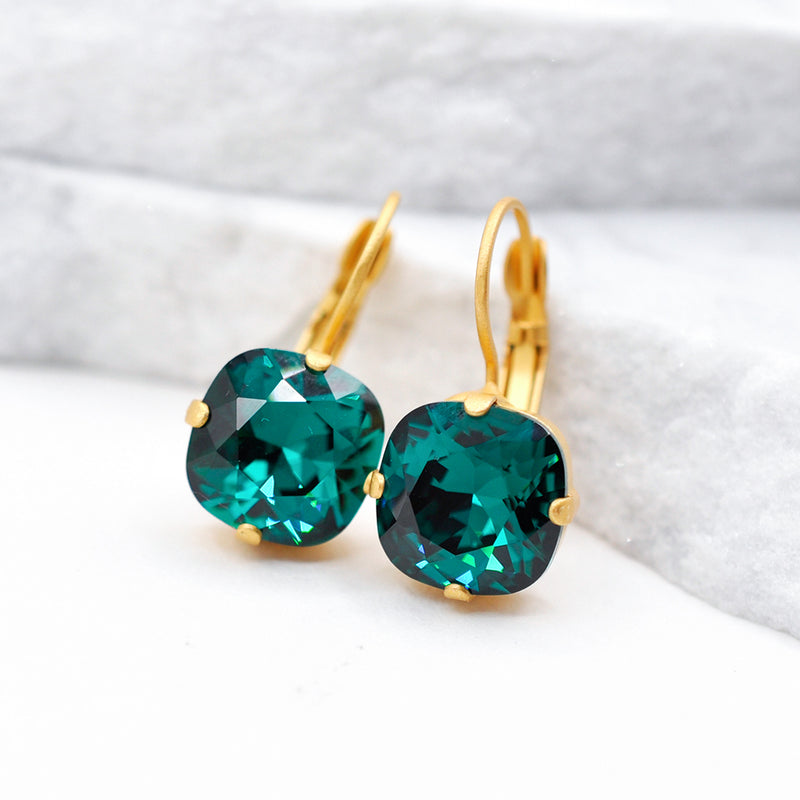 gold crystal earrings with emerald Swarovski crystal