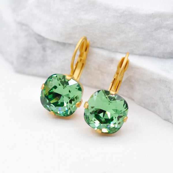 gold square crystal earrings with erinite green Swarovski