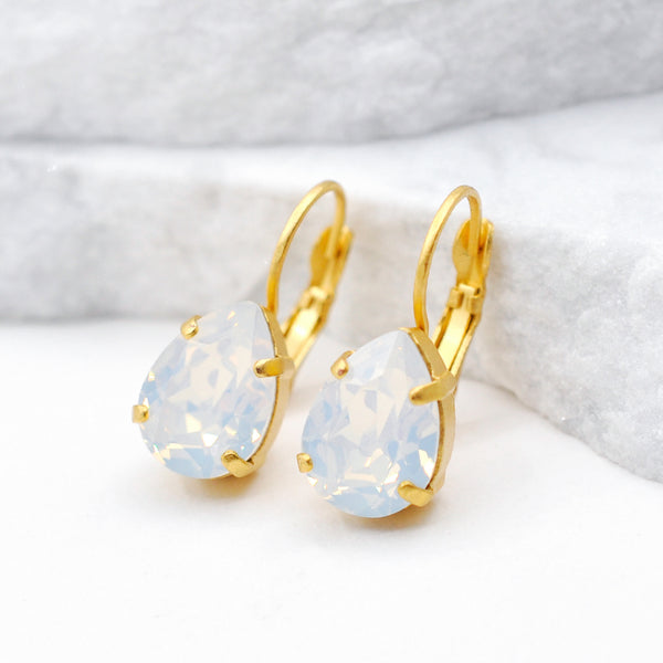 gold drop crystal earrings with white opal Swarovski crystal