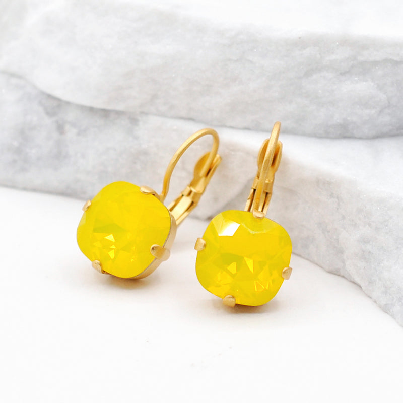 gold crystal earrings with yellow Swarovski crystal