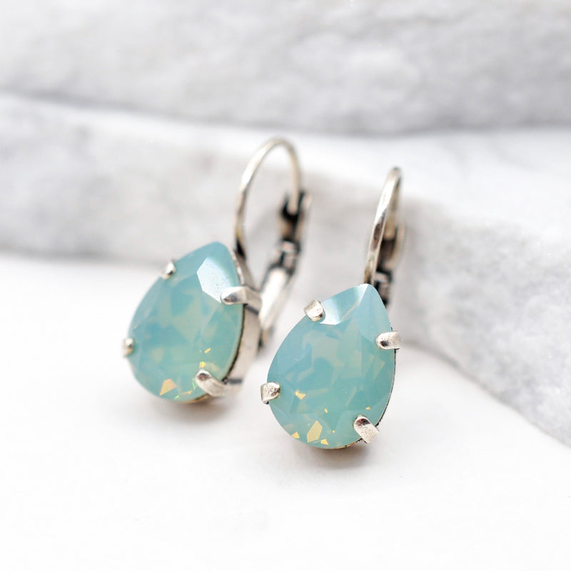 silver drop crystal earrings with pacific opal Swarovski crystal