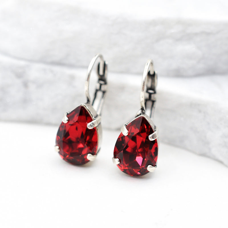 silver drop crystal earrings with red Swarovski crystal