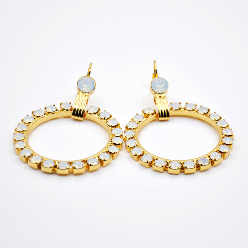 Gold crystal hoop earrings with Swarovski crystals