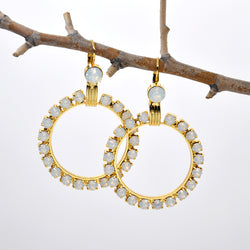 Gold hoop earrings with Swarovski crystals