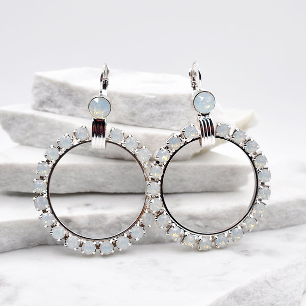 Silver crystal hoop  earrings