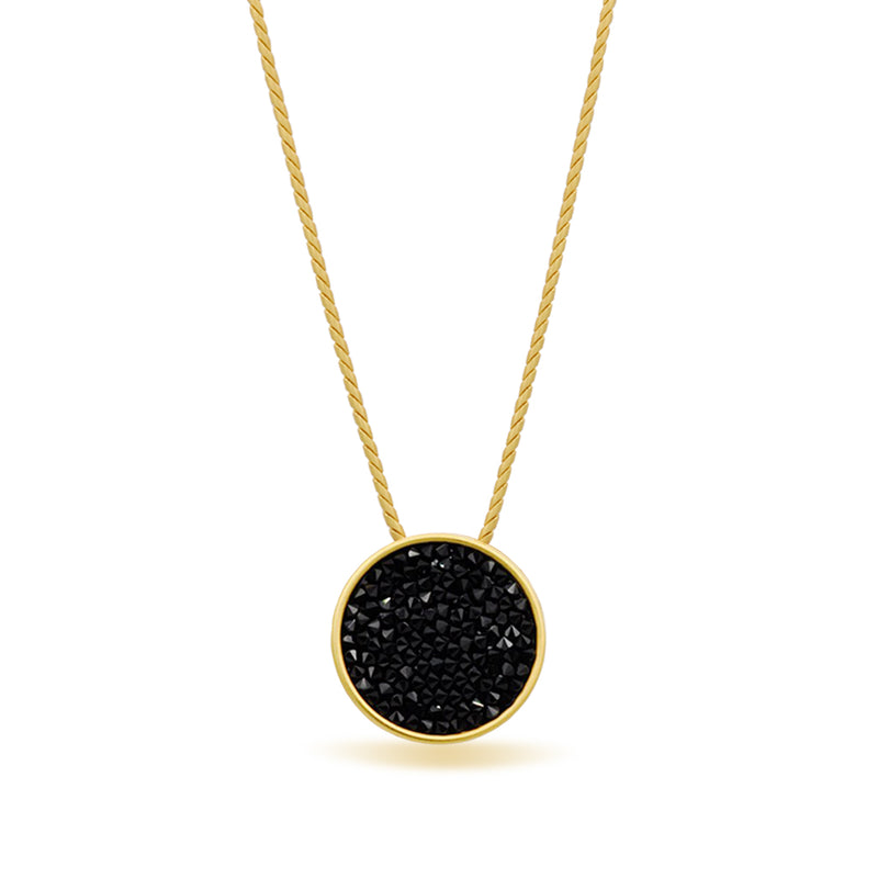 Dark black pendant necklace Gold