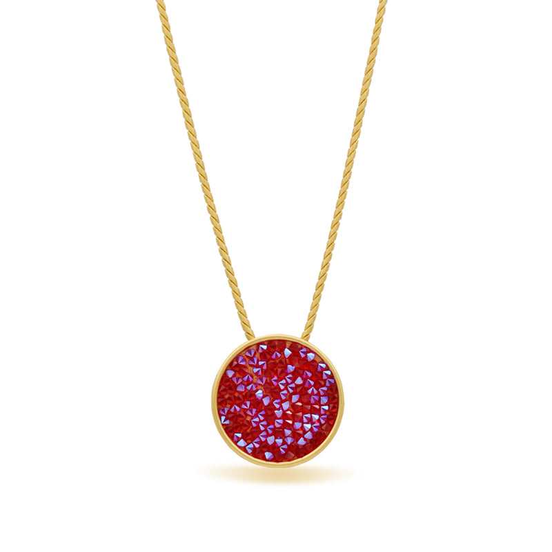 Shimmer red crystal gold necklace