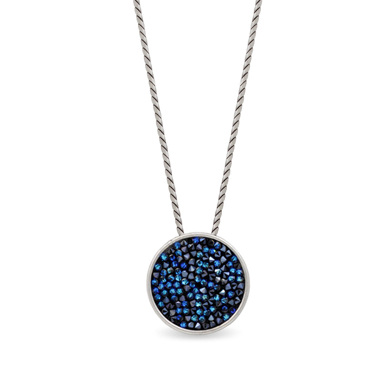 Silver round pendant necklace with blue crystals
