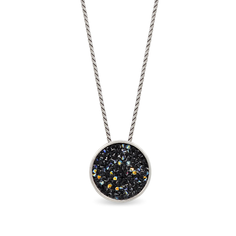 Silver round pendant necklace with blue black crystals