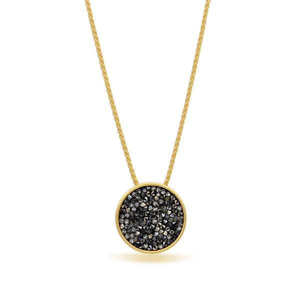Gold round pendant with grey crystals