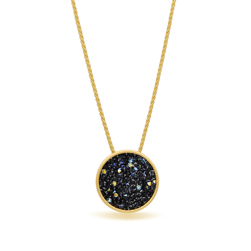 Gold shimmer black pendant necklace