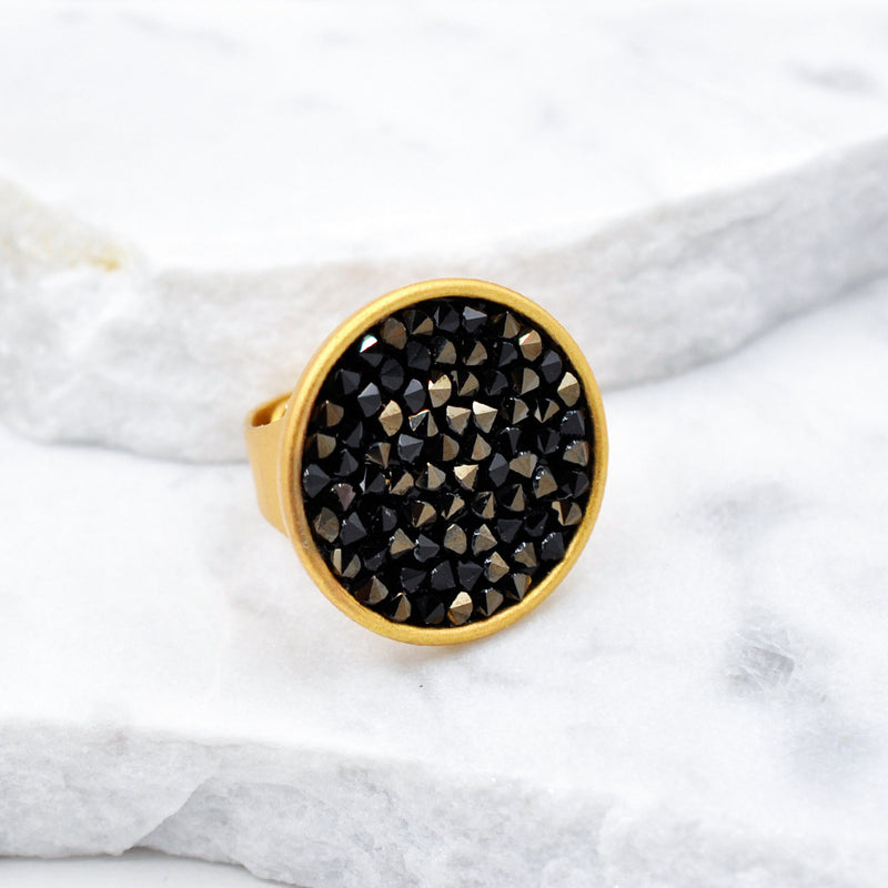 gold crystal rock ring with dark black  Swarovski crystals