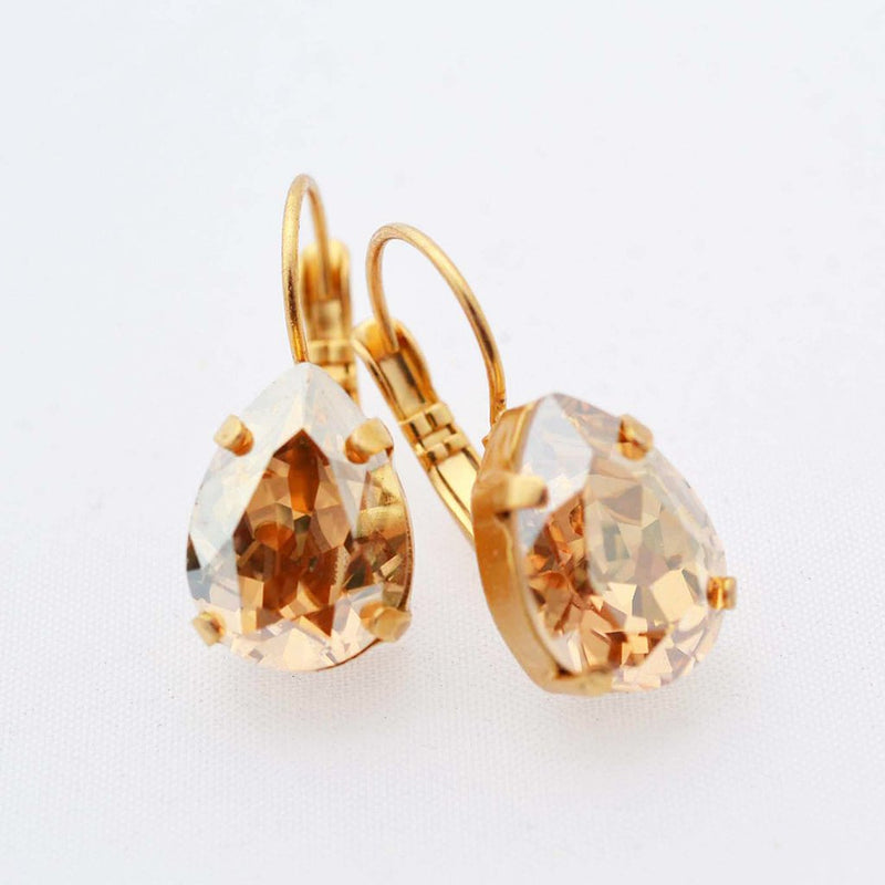 gold drop crystal earrings with golden shadow Swarovski crystal