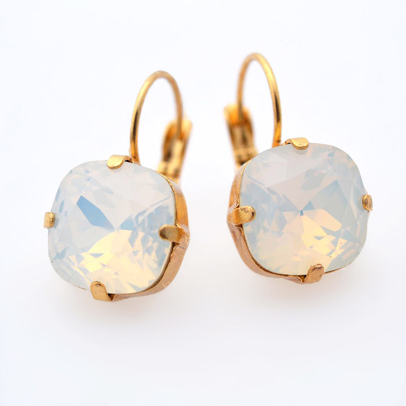Gold plates square crystal earrings with white opal Swarovski crystal