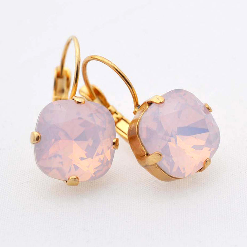 Gold plated square crystal earrings with pink opal Swarovski crystal