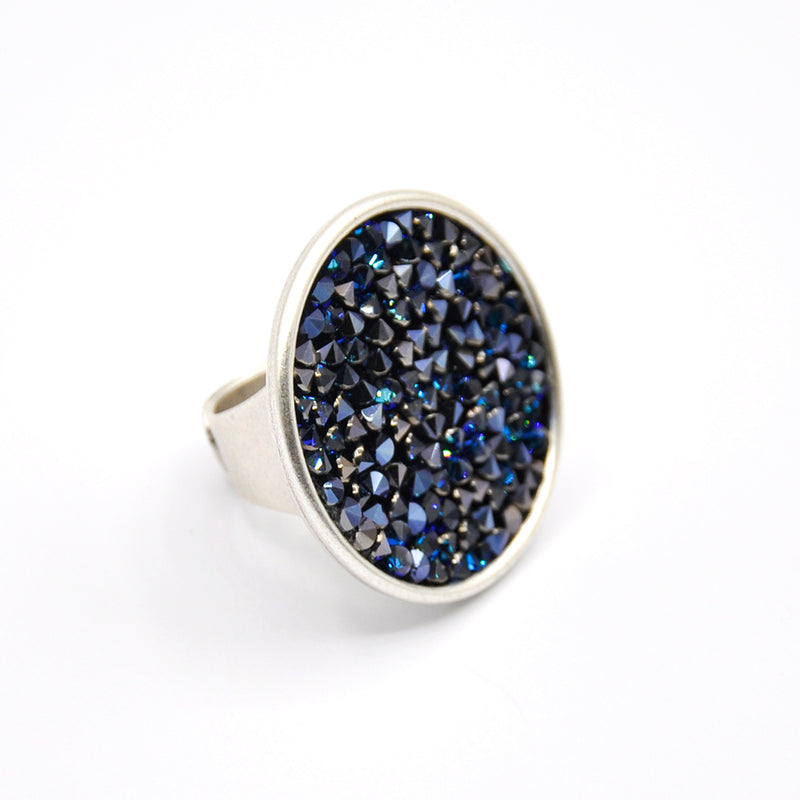 Silver crystal rock ring with shimmer blue Swarovski crystal