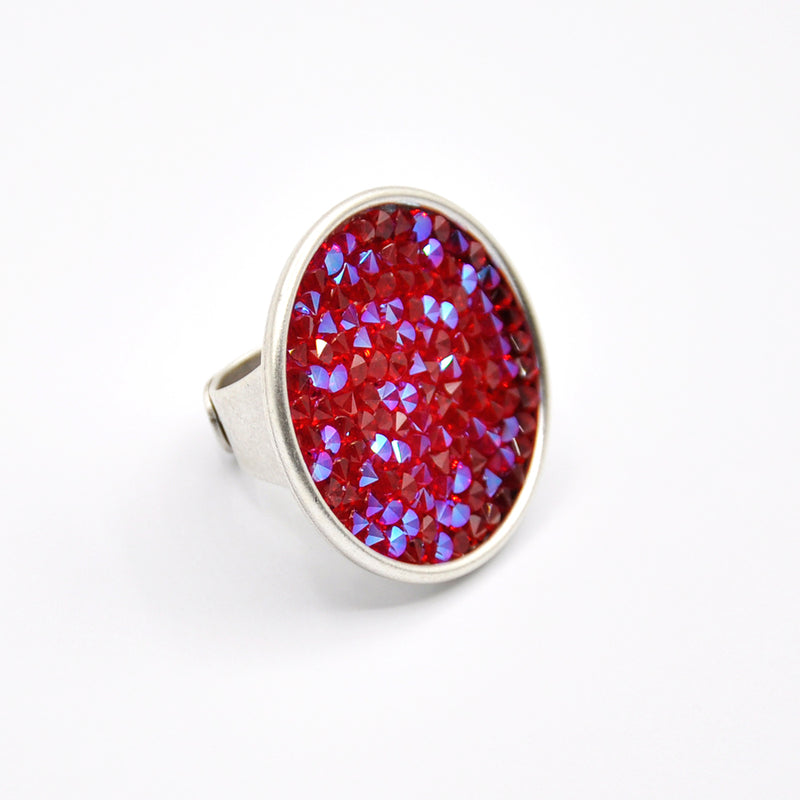 Silver crystal rock ring with red Swarovski crystals
